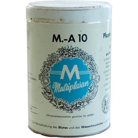 Eine runde, hellgrüne Blechdose mit großem Multiplasan Logo und der Beschriftung M.-A10