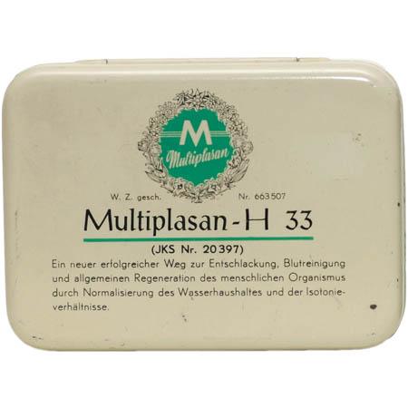 Eine cremefarbene Blechschatulle mit Multiplasan Logo und Aufschrift des Produktnamens