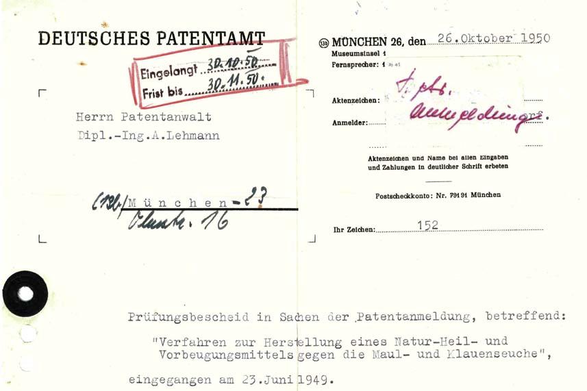 Historisches Schriftstück zur Anmeldung eines Patents für die Herstellung des Multiplasan A10 Produkts