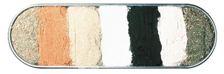 Eine Schale mit pulverisierten Kräutern in verschiedenen Braun-, Grün- und Grautönen