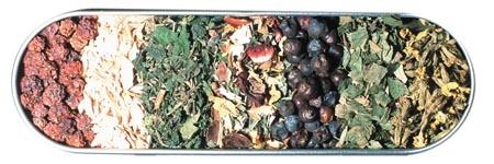 Eine Schale mit getrockneten Wurzeln, Beeren, Früchten und Blättern