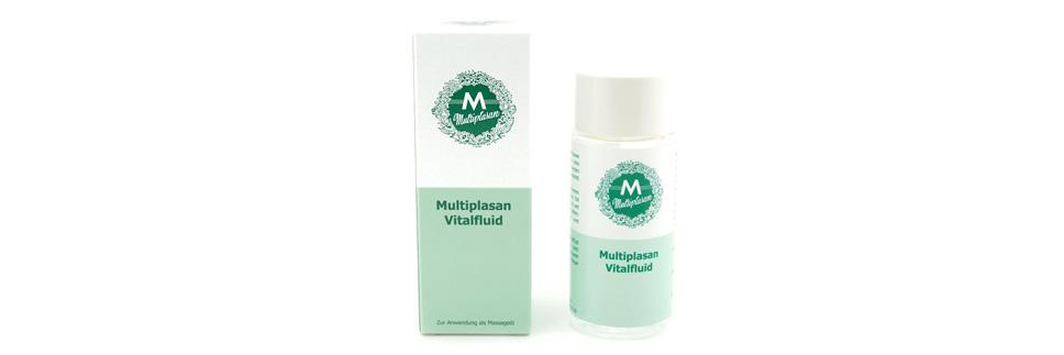Umverpackung aus Karton und Glasflasche Multiplasan Vitalfluid - Eine runde Glasflasche mit grün / weissem Etikett und weissem Verschluss