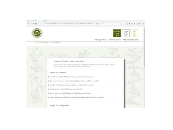 Vorschau der Webseite mit unseren FAQs